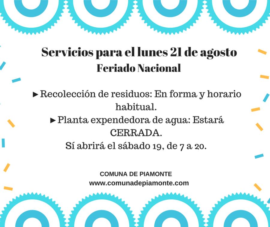 Servicios para el lunes 21 de agosto